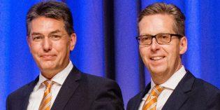 Die beiden Vorstandssprecher der Volksbank Darmstadt - Südhessen Michael Mahr und Matthias Martiné (v.l.) blicken positiv in die Zukunft. Foto: oh
