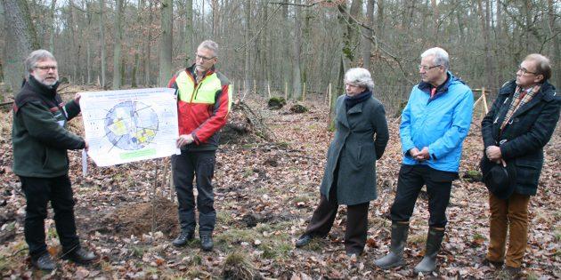Werner Kluge von Hessen Forst (links) erklärte, wie es zu dem desolaten Zustand gekommen ist. Forstamtsleiter Ralf Schepp (2. von links) sprach von einer labilen Situation. Foto: Eva Wiegand