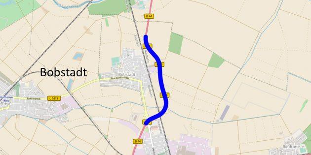 Die B 44 zwischen Bürstadt und Biblis wird im Frühling zwischen der Abzweigung Bobstadt und der Ortsumgehung Bobstadt für eine Woche voll gesperrt. Foto: Hessen mobil/Googlemaps