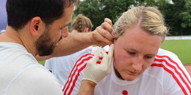 BUZ: Zum Trainingsstart wird der Fitnesszustand der Spielerinnen ermittelt, im Bild Jessica Kockler. Foto: HSG Bensheim/Auerbach Flames