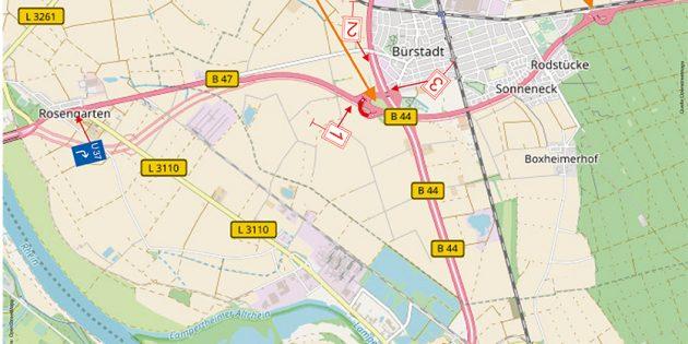 Die Verkehrsführung während der geplanten Vollsperrung der B 47 bei Bürstadt. Foto: oh