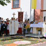 Vor der Pfarrkirche St. Andreas ging die Fronleichnamsprozession mit dem Abschluss-Segen vor dem Blütenteppich zu Ende. Foto: Hannelore Nowacki