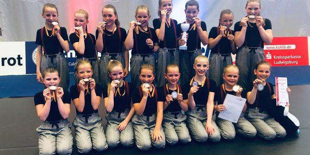 Echtes Silber: Die Kinderformation MIO der TG Bobstadt tanzte sich zum Deutschen Vizemeistertitel. Foto: oh
