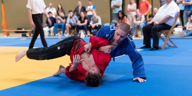 BUZ: Ian Störmer hier zuletzt bei seinen Siegen in der Judo-Oberliga für den 1. JC Bürstadt. Foto: Stephan Müller