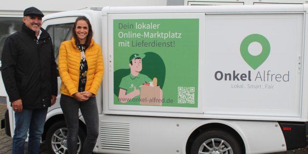 Ziel der beiden Geschäftsführer des Start-Up-Unternehmens Onkel Alfred, Harald Ofenloch und seiner Tochter Sarah Kotschkurov, ist es, den Lieferdienst zunächst in Bürstadt zu etablieren, auf lange Sicht aber für viele weitere Kommunen deutschlandweit anzubieten. Foto: Eva Wiegand