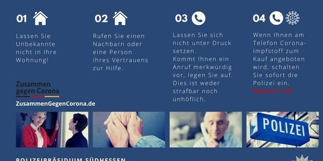 Das Polizeipräsidium Südhessen gibt angesichts der anhaltenden Betrugsversuche wichtige Hinweise. Foto: Polizeipräsidium Südhessen