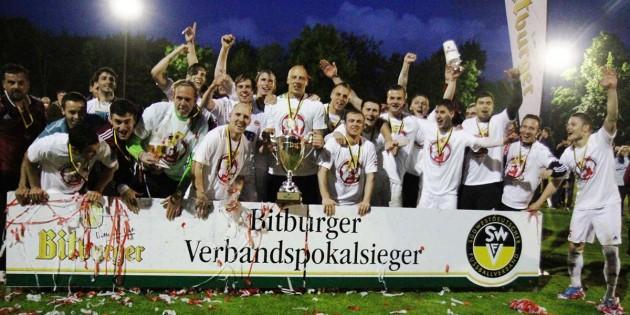 Ähnliche Jubelszenen wie hier heim Gewinn des Bitburger-Verbandspokals dürften sich auch bei der Auslosung im TSG-Vereinsheim abgespielt haben.  Archivfoto: Klaus Diehl