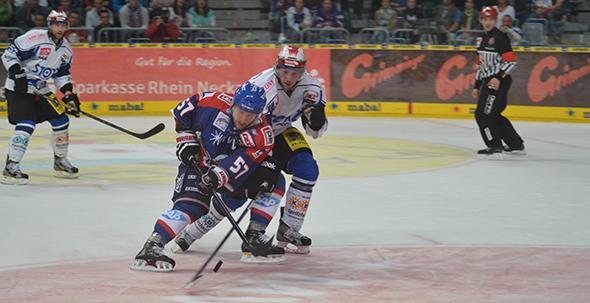 Nach dramatischem Match setzen sich die Mannheimer Adler (Blaues Trikot) gegen Schwenningen durch. Foto: Gernot Kirch