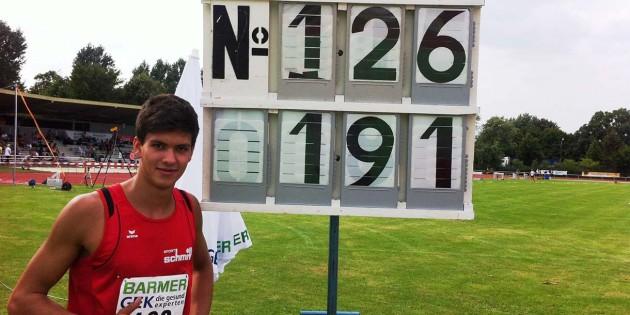 Mit 1,91m im Hochsprung zeigte sich Sebastian Zezyk (TG Worms) bei der Zehnkampf-DM der U20 in sehr guter Form.