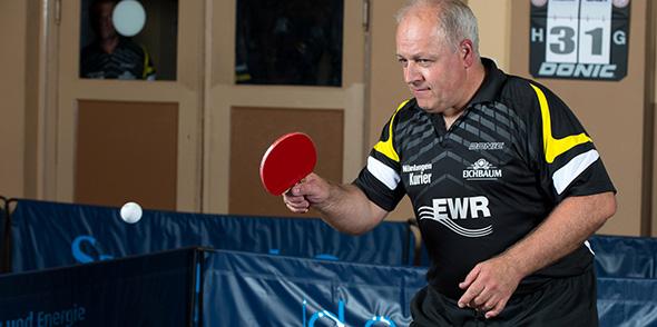 Hat stets ein Lächeln und einen lockeren Spruch für seine Mitspieler parat: Stefan Bahr steht ob seiner freundlichen Art am Leiselheimer Trappenberg als Tischtennisspieler und Mensch hoch im Kurs.