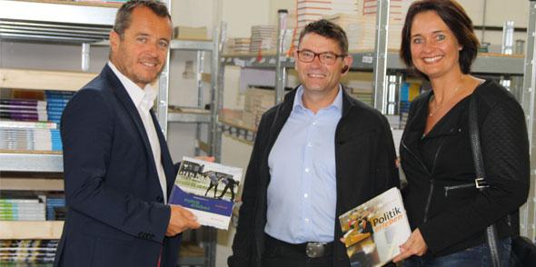 Von links: MdL Jens Guth, Detlef Hirsch, MdL Kathrin Anklam-Trapp tauschten sich über den Integrationsbetrieb der Stadt Worms aus.