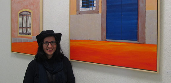 Die Malerin Elena Romanzin stellt zur Zeit im gleis 7 in Worms aus.