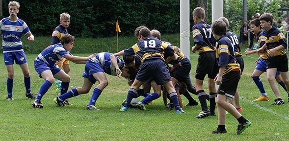 Die neu gegründete Spielgemeinschaft aus dem RC Worms und dem Heidelberger Ruderklub (blau-weiße Trikots) zeigte beim Turnier in Neckarshausen ein überzeugende Leistung.