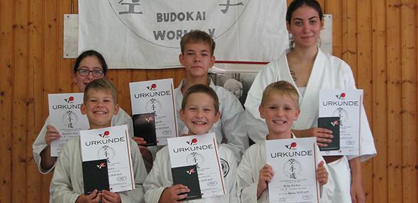 Teilnehmer des Sommertraingslagers des Budokai-Worms e.V. in Hertlingshausen.