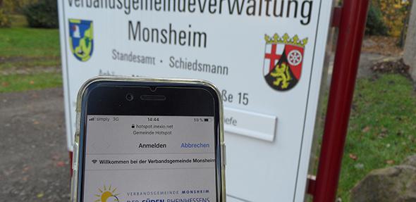 Ab sofort ist in einigen Bereichen der Verbandsgemeinde Monsheim – unter anderem an der Anhäuser Mühle – ein freier Zugang zum Internet über einen W-LAN Hotspot möglich.