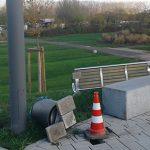 Vandalismusschäden an der Karl-Kübel-Brücke wurden von aufmerksamen Facebook-Nutzern gemeldet.