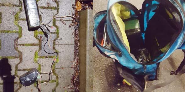 Der verdächtige Rucksack. Foto: Polizei