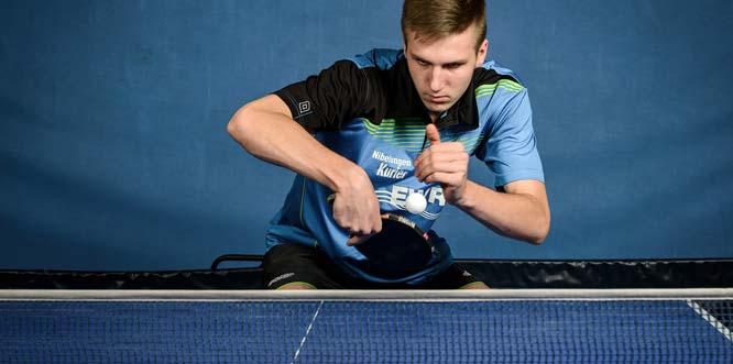 """""""Man of the Match"""" in der Tischtennis-Partie der 3. Bundesliga Süd des TV Leiselheim beim TTC Weinheim: Medardas Stankevicius war alleine an drei der fünf Zähler des TVL beim 5:5-Unentschieden beteiligt."""