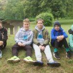 Florentine, Gülizar, Jonas, Enes, Luca, Phil und Tom (von links) freuen sich über ihr gutes Abschneiden.