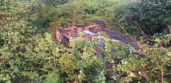 Das Fahrzeug in endgültiger Position.  Foto: Polizei