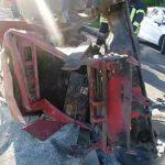 L440 Eich, Unfallbeschädigte Fahrzeuge, Traktor und PKW. Foto: Polizei
