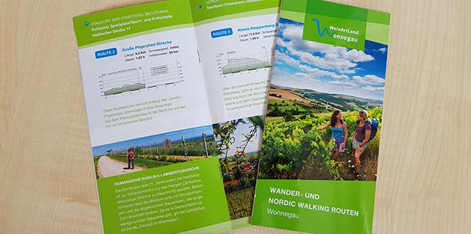 """In der neuen Konzeption ist bereits die """"Wander- und Nordic Walking Broschüre – Wonnegau"""" erschienen."""