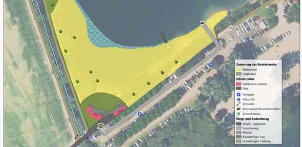 Nach erneuter Modellierung soll der fertige Strand gemäß Plan aussehen.
