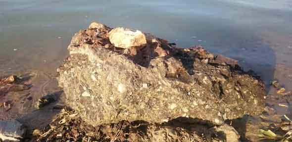 Große Steine und Betonstücke sind im seichten Wasser zu finden. Foto: eingeschicktes Leserbild