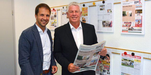 Oberbürgermeister Michael Kissel (rechts) besuchte mit dem SPD-Geschäftsführer der Unterbezirke Worms und Alzey-Worms, Leon Giegerich, den Nibelungen Kurier. Foto: Gernot Kirch