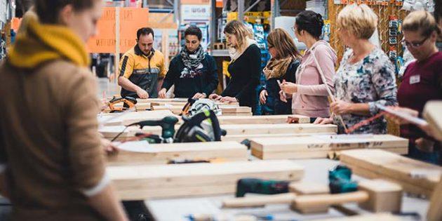 """Wie in den Vorjahren bietet Hornbach erneut """"Women at work""""-Projektabend statt, in dessen Kurse verschiedene Techniken erlernt werden können."""