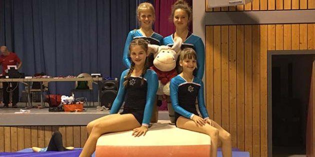 Die vier Mädchen des TV 1978 Monsheim schafften bei den Rheinhessen-Meisterschaften Platz 5.