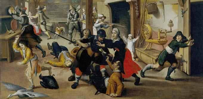 """""""Plündernde Söldner"""" auf einem Ölgemälde von Sebastian Vrancx von 1620 (Berlin, Deutsches Historisches Museum)."""