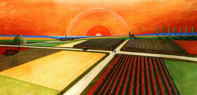 """Auch die """"Rheinhessische Landschaft"""" von Hans Jörg Kircheis gehört zu der aktuellen Ausstellung."""