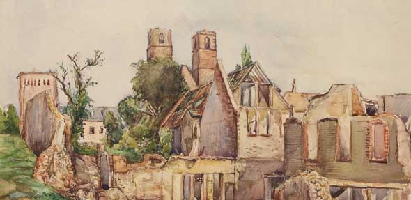 Aquarell: Blick auf die Andreaskirche von der Valckenbergstraße, Richard Stumm, 1945 (StadtAWo Abt. 217 Nr. 1454).