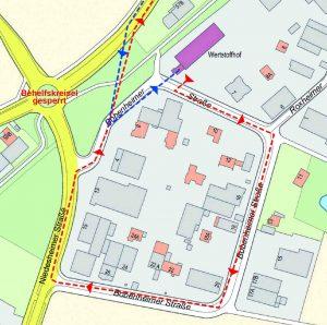Die Zufahrt zum Wertstoffhof musste erneut geändert werden. Für die Bobenheimer Straße gilt nun eine Einbahnstraßenregelung.