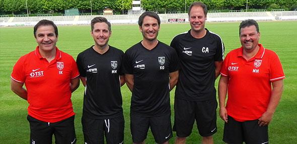 Das Trainerteam der Wormatia bestehend aus Kristjan Gilbo, Max Mehring und Christian Adam.