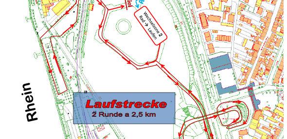 Die Laufstrecke führt über die Kastanienallee, die Karl-Kübel-Brücke und die Karl-Hofmann-Anlage.