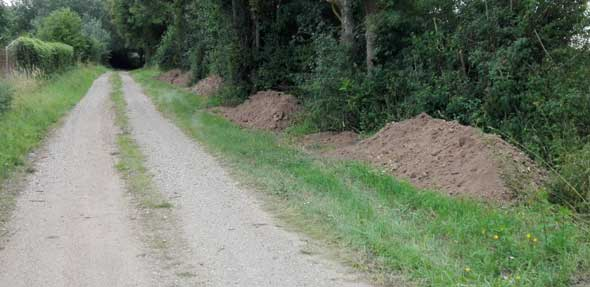 Illegale Ablagerung von Erdaushub / Bauschutt im Außenbereich zwischen Herrnsheim und Abenheim südlich der L 425.