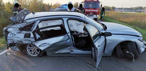 Der Unfallwagen. Foto: Polizei Worms