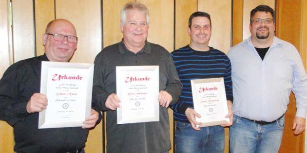 Herbert Muth, Peter Schättgen, Daniel Rohrscheidt und der Vorsitzenden Kai Rohrscheidt (von links).