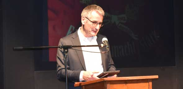 Landtagspräsident Hendrik Hering besuchte als Ehrengast den SPD Bürgerempfang seiner Genossen im LincolnTheater. Foto Florian Helfert