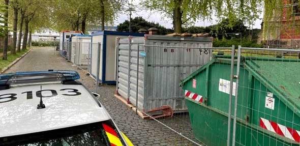 Übersicht der Baucontainer im Liebfrauenring. Foto: Polizei Worms