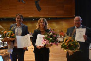 Die neue Bürgermeisterin von Worms Staphanie Lohr (Mitte) sowie Timo Horst (links) und Waldemar Herder traten heute für die Dauer von acht Jahren ihre Ämter an. Foto: Florian Helfert